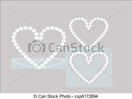 Pearl clipart heart shaped Vector pearls EPS of heart