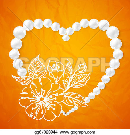 Pearl clipart heart shaped Cherry Drawing shaped vector illustration