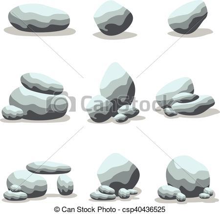 Pebble clipart cartoon rock Of collection Cartoon Vector