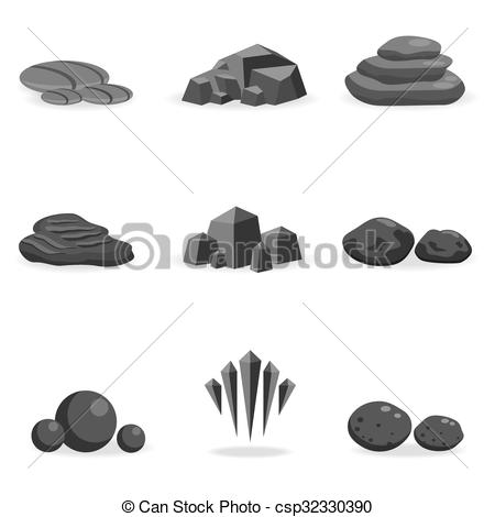 Pebble clipart stone Isolated Vector game decor rock