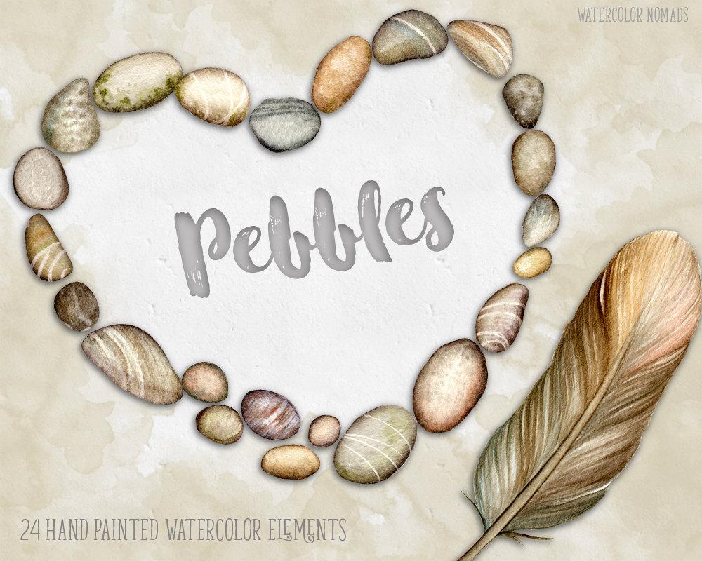 Pebble clipart stone Clipart Digital river hand watercolor