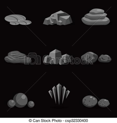 Pebble clipart stone rock And game art isolated stone