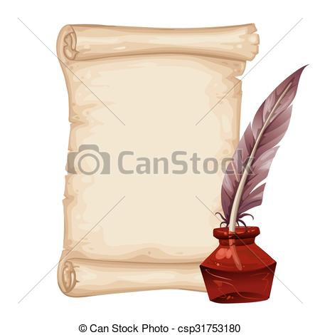 Drawn scroll With pen Vector Ancient and