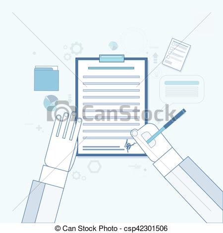 Pen clipart business document Vector Sign Contract Paper Document