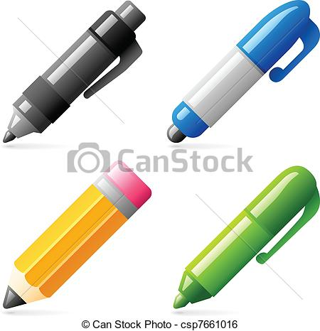Pen clipart four Illustrations four  Set icons