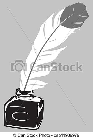 Quill clipart ink bottle #1