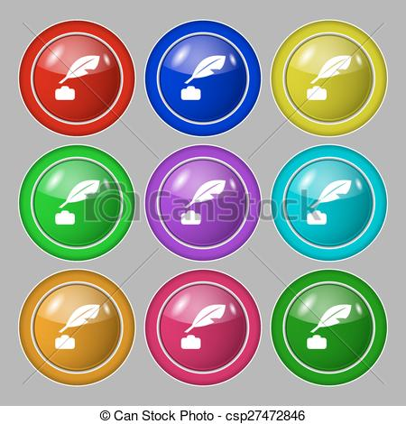 Pen clipart nine EPS of nine colourful sign