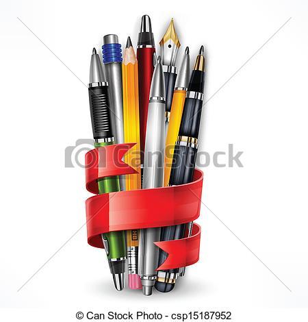 Pen clipart pecil Pencils  ribbon Vector pens