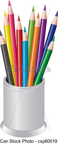 Pen clipart pen pencil Of Vector Clipart colored a