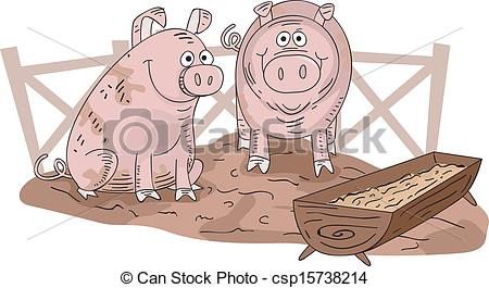 Pen clipart pig Vector Illustration Clip of a