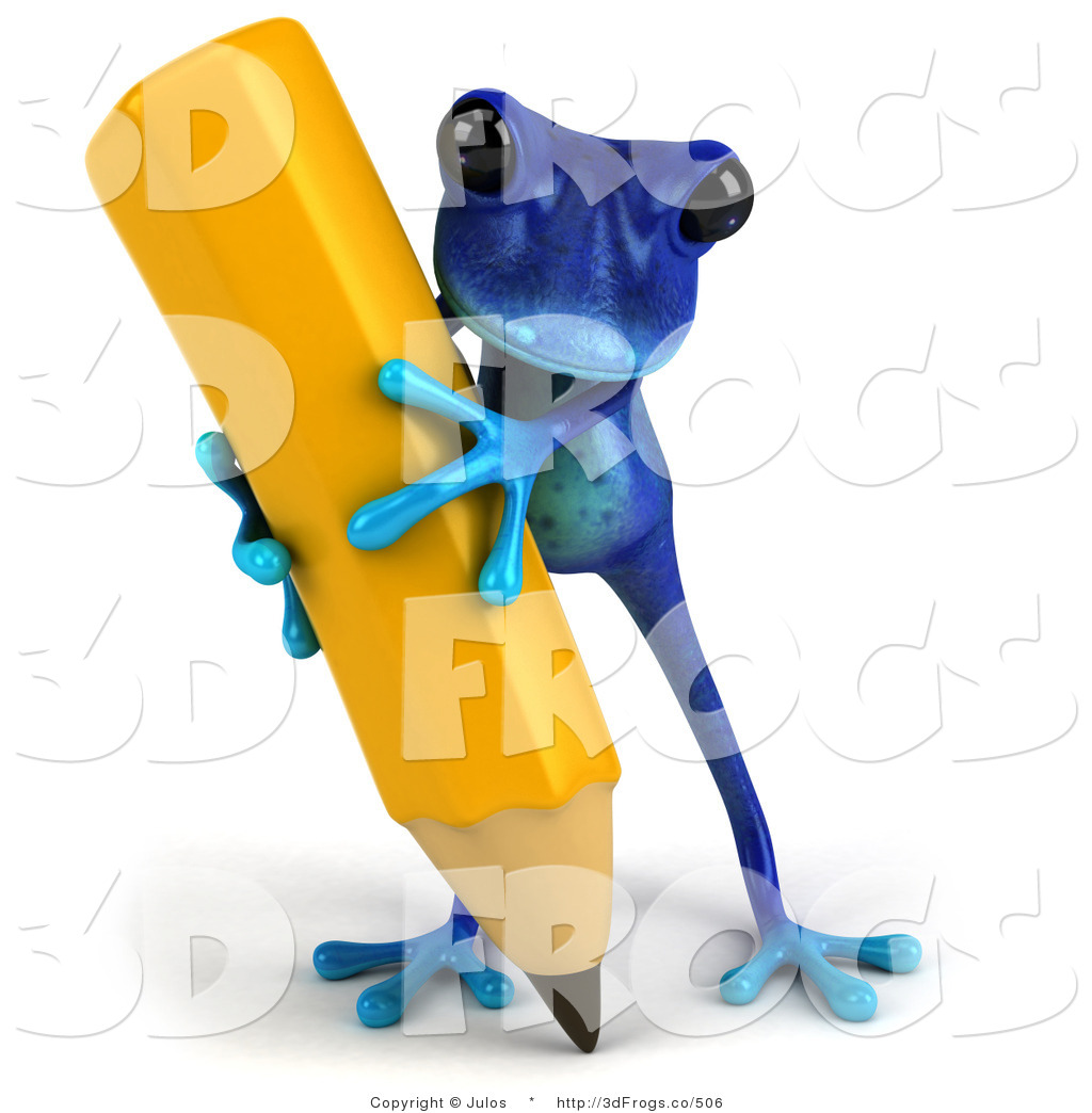 Pencil clipart frog 3d Illustration Writing of Pencil