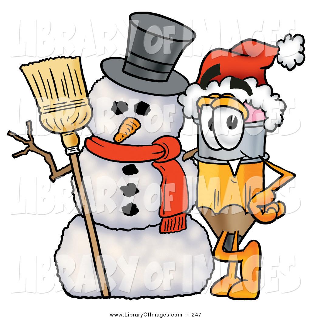Pencil clipart snowman Royalty Christmas a Winter Yellow