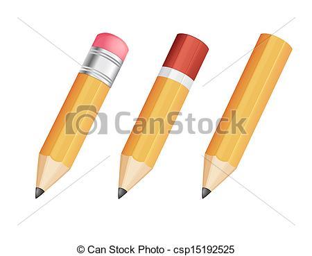 Pencil clipart three Vector sharp on sharp wooden