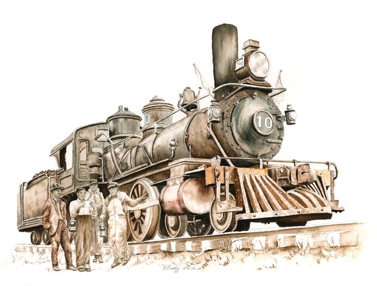 Drawn railroad illustration Old on Results pencil Train