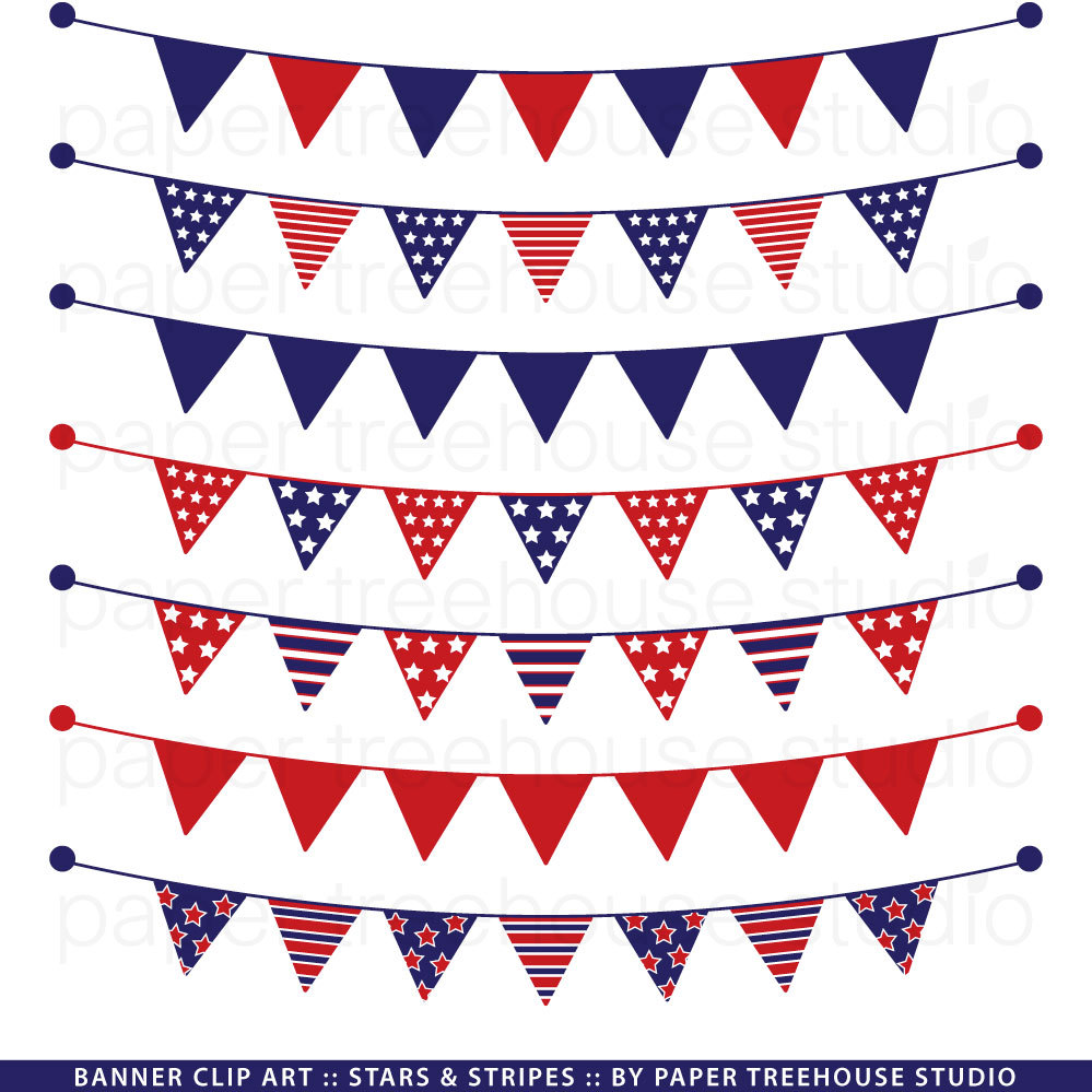 Pendent clipart banderitas Banner Red and Stripes White