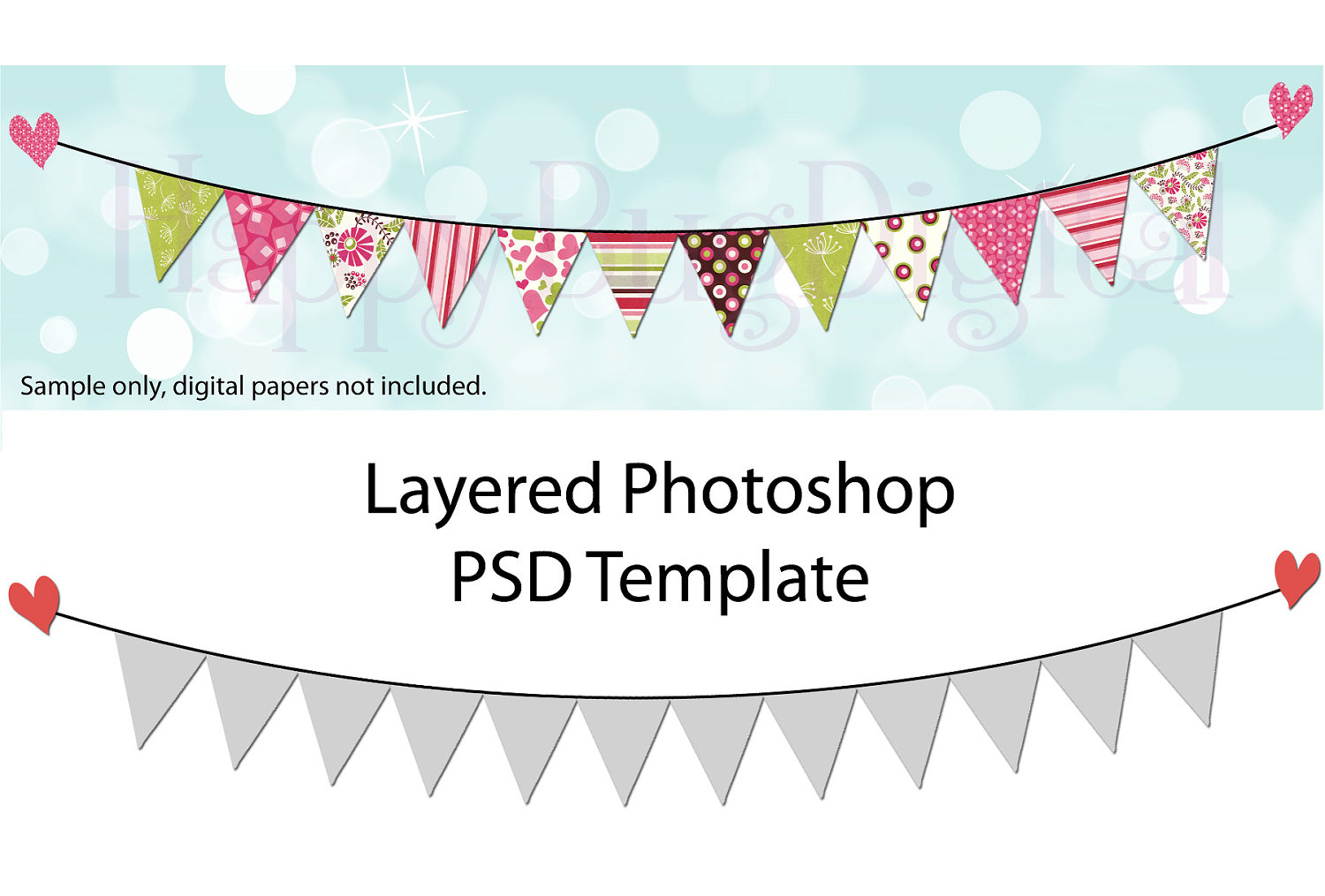 Photoshop clipart banner Flag Bunting DIGITAL Pennant Template