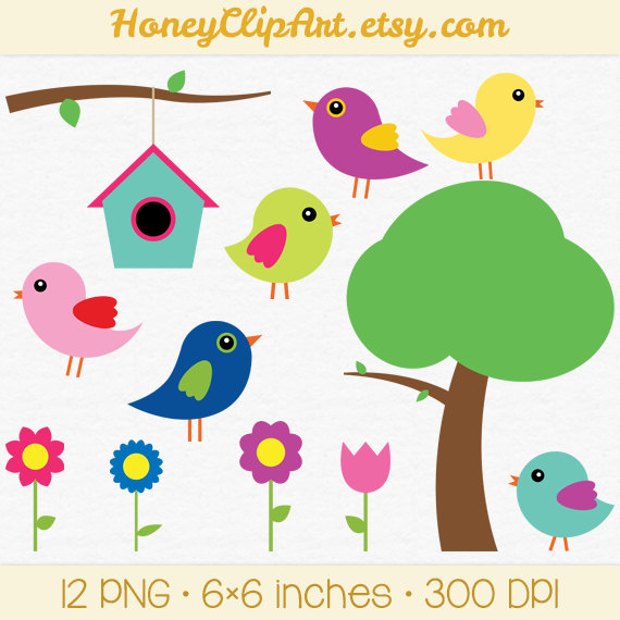 Bird clipart spring flower Clipart clip Art Etsy Clipart