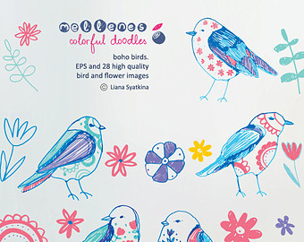 Pendent clipart boho bird Boho birds clipart drawn 28
