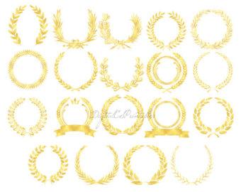 Pendent clipart border Lace Trim laurel Borders: Gold