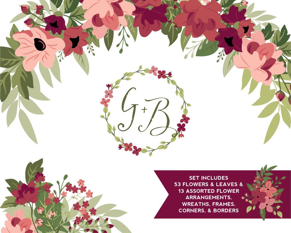 Pendent clipart border & Burgundy Flowers Ballet Etsy