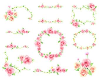 Pendent clipart border Flower Etsy clipart Digital Border