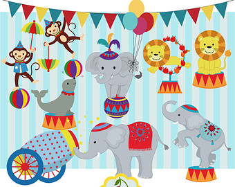 Carneval clipart circus animal Paper Clip clip Etsy Personal