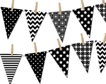 White clipart pennant banner Banner Banner Black Banner Printable