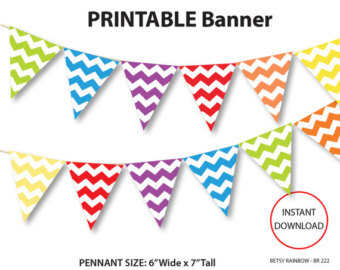 Pendent clipart chevron banner Banner banner Etsy rainbow printable
