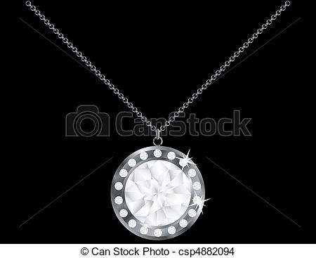 Pendent clipart diamond necklace Diamond  Isolated Vector EPS
