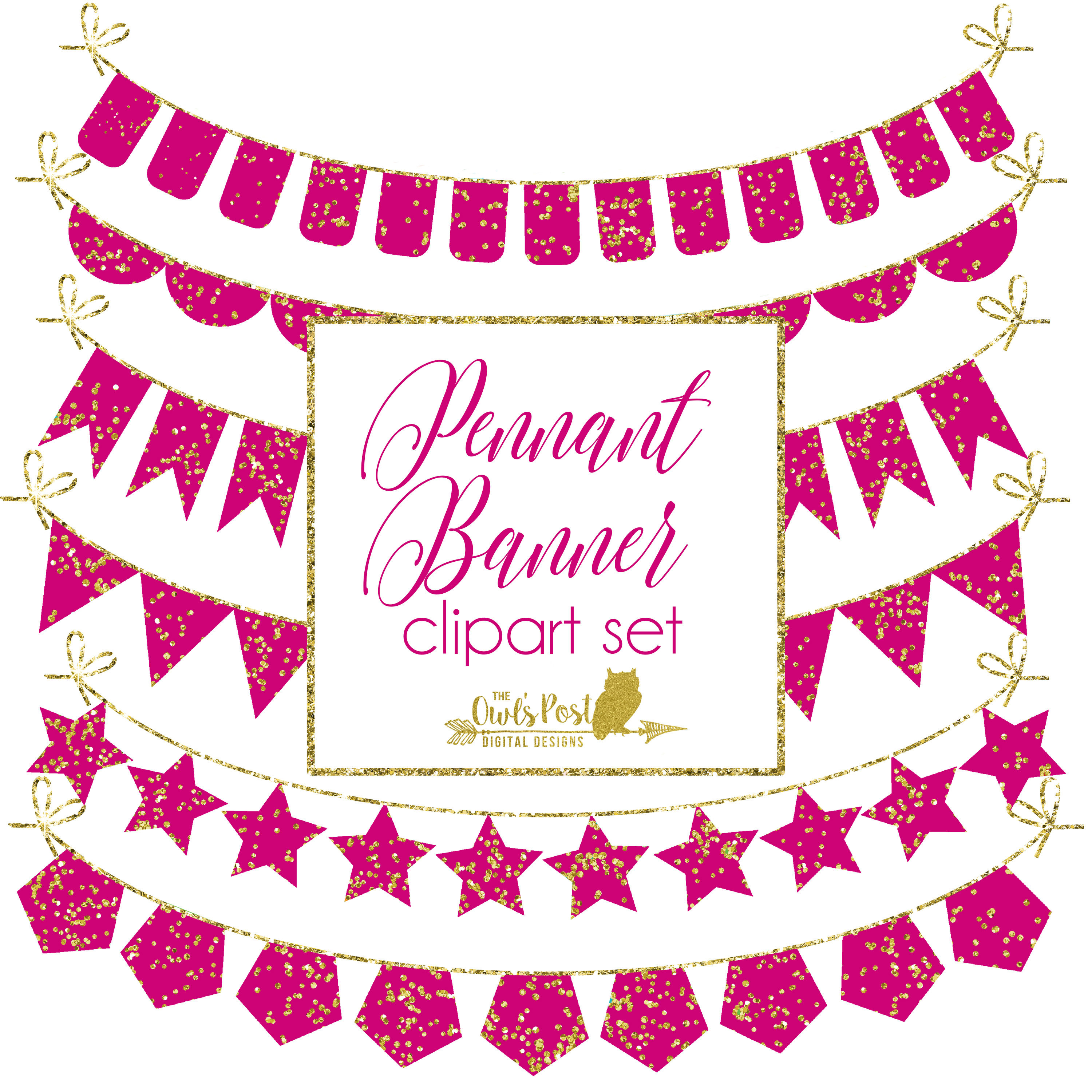 Pendent clipart festival banner Gold Rainbow Rainbow Pink PNGS
