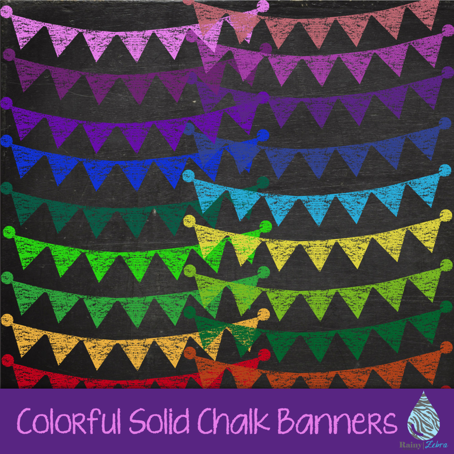 Pendent clipart festival banner Chalk Colorful Chalk Banners Pennant