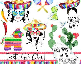 Pendent clipart fiesta Watercolor de de Etsy clipart