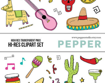 Pendent clipart fiesta INSTANT Res clipart Doodle Fiesta