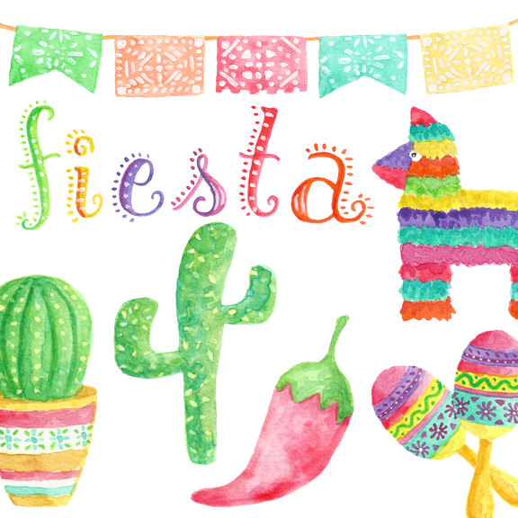 Pendent clipart fiesta Watercolor Etsy clipart Mexican Clipart//Fiesta