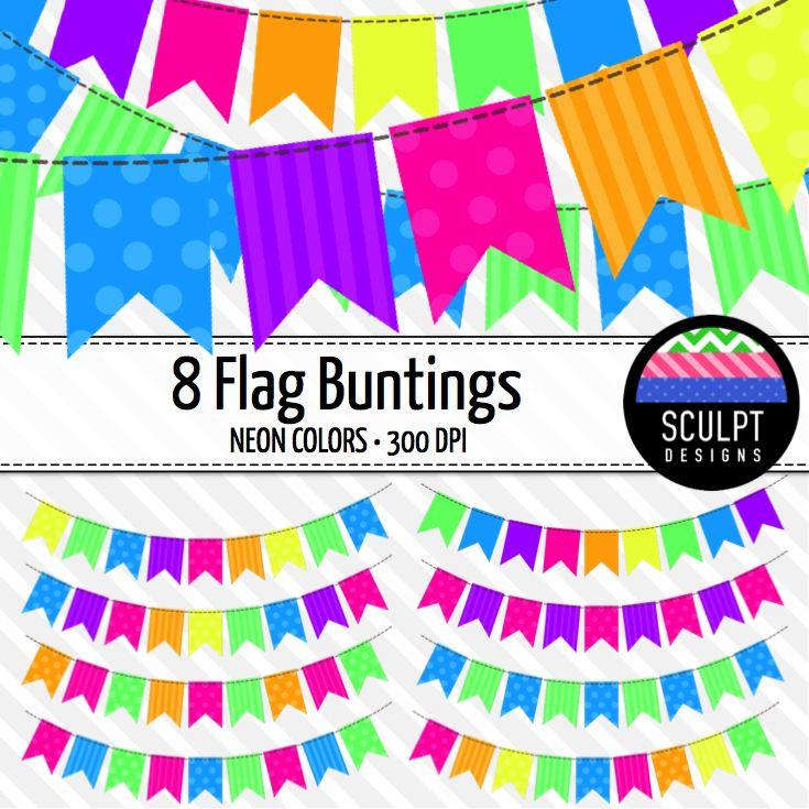 Bunting clipart bright Neon colors Colors Flags Neon