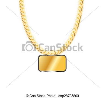 Pendent clipart gold necklace Chain Vector Gold Clipart csp28785803