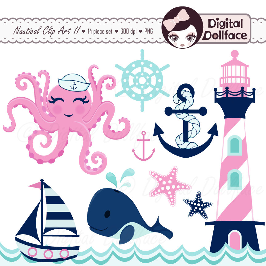 Pink clipart nautical Pink Whale Octopus Starfish Nautical
