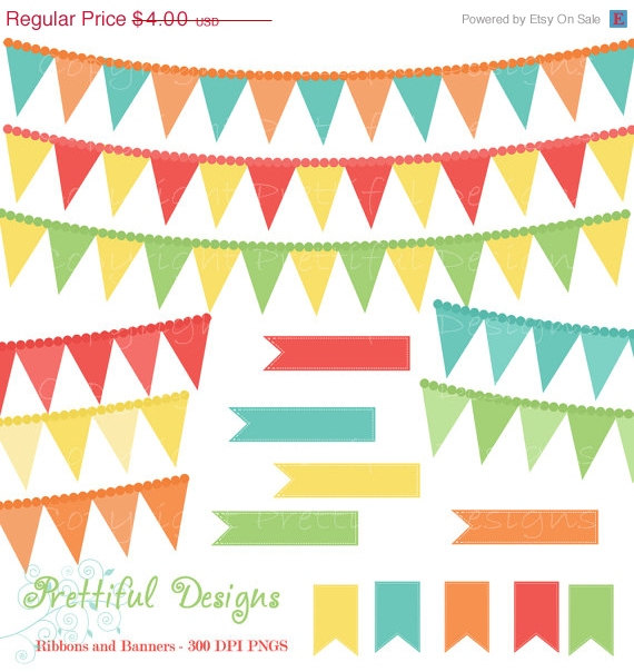 Pendent clipart party banner Party Art turquoise Coral Ribbon