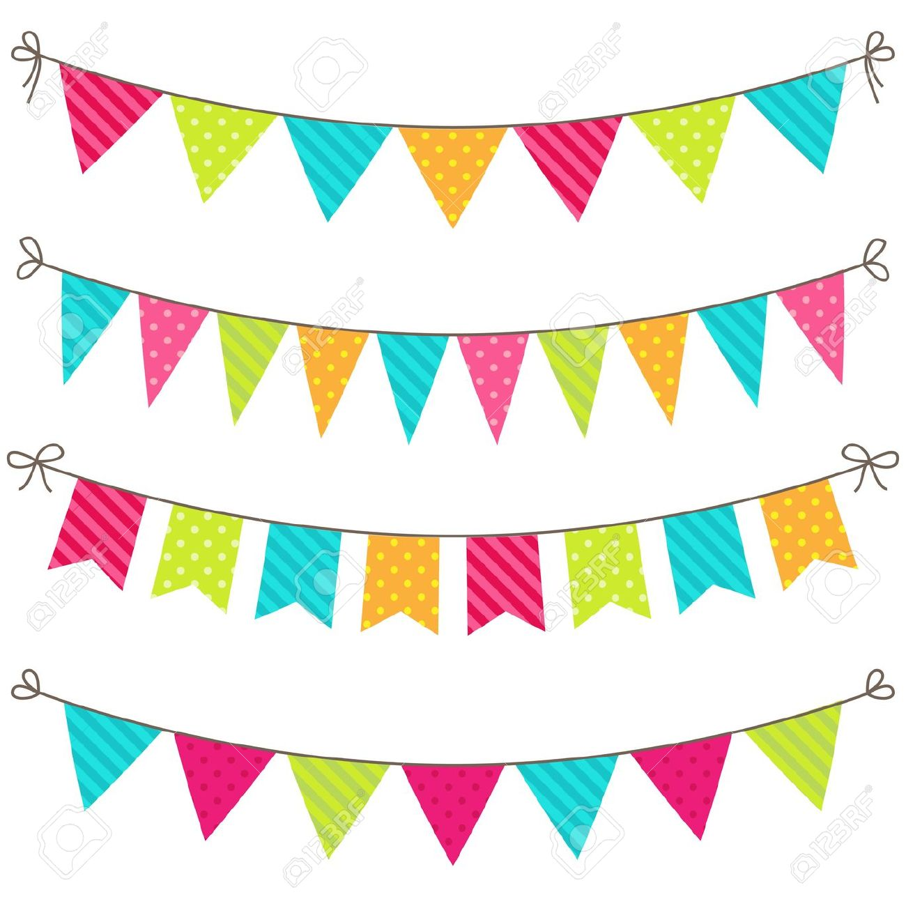 Pendent clipart party banner Banner for flag party colorful