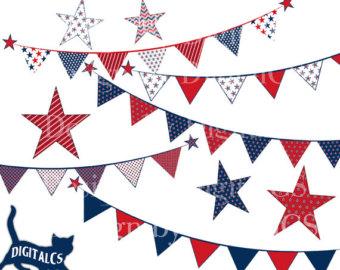 Pendent clipart patriotic banner Digital July Clipart clip Clip