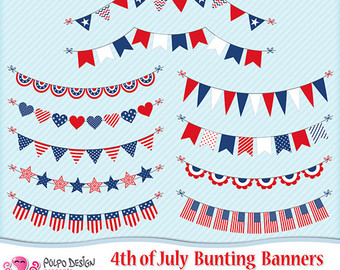 Pendent clipart patriotic banner Clipart personal clipart July bunting