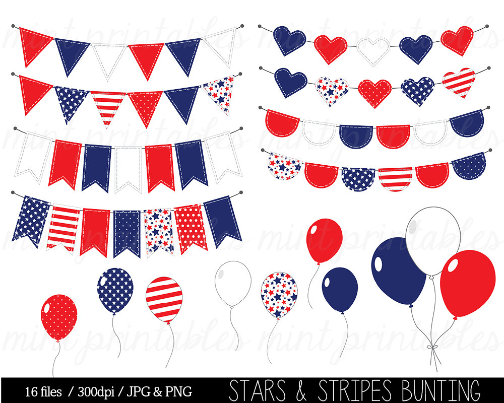 Stripe clipart red and blue Red Clip Clipart Bunting Art