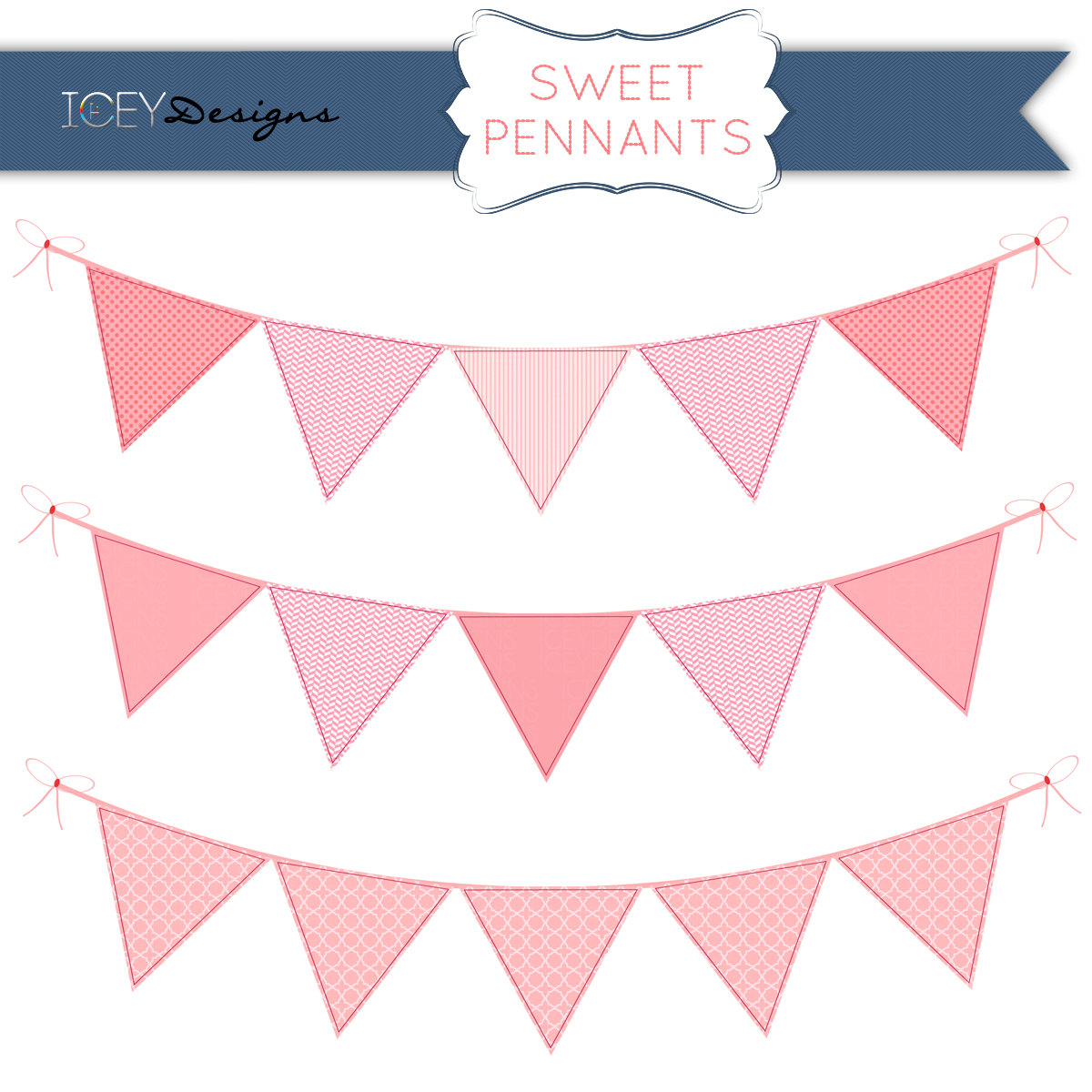 Pendent clipart pink triangle  of Free Banner Pink