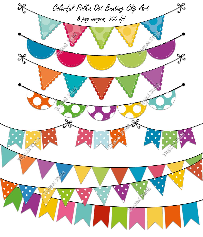 Pendent clipart polka dot Bunting summer Clip Colorful printable