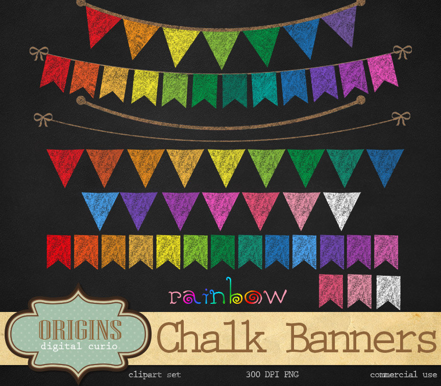 Pendent clipart rainbow banner Clipart banners clipart Bunting Etsy