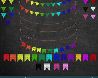 Pendent clipart rainbow banner Banner Art clipart Bunting Etsy