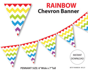 Pendent clipart rainbow banner Party Printable banner chevron pink