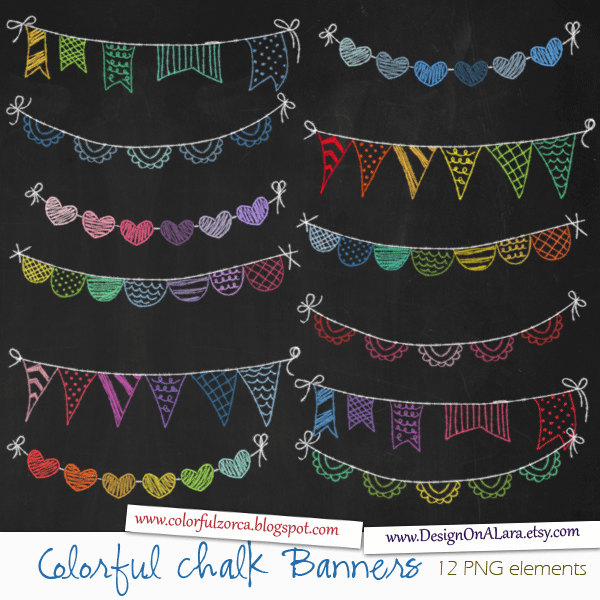 Pendent clipart rainbow banner Chalkboard Banners chalk Bunting Etsy