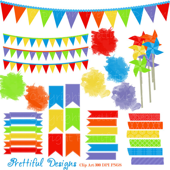Pendent clipart rainbow banner Watercolor Spot Rainbow Tape Washi
