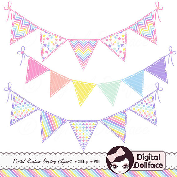 Bunting clipart triangle banner Pastel Art Cute Rainbow Banner
